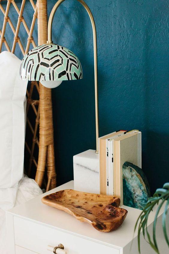 dark wall paint   blue bedroom pendant lamp bamboo headboard   Girlfriend is Better