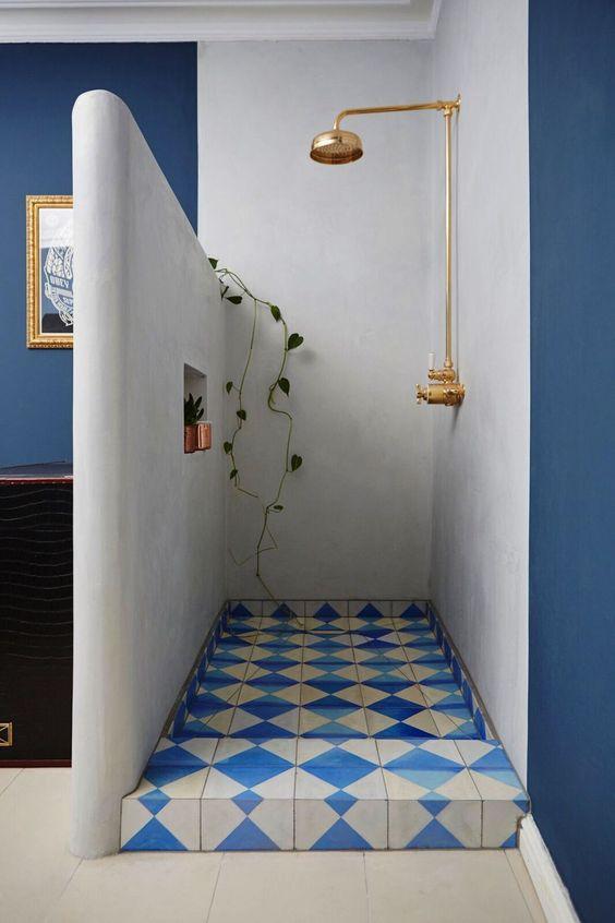 dark wall paint   blue graphic tile bathroom shower   Girlfriend is Better
