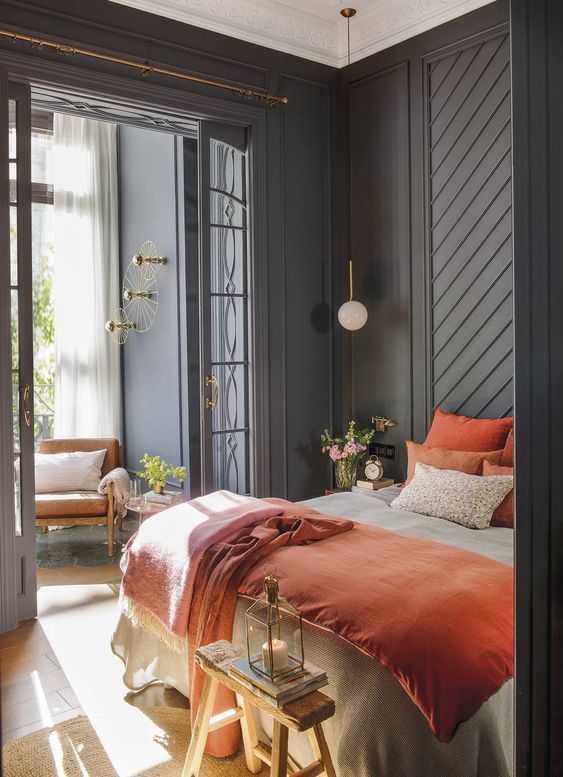 dark wall paint   blue bedroom moldings sun room french doors   Girlfriend is Better