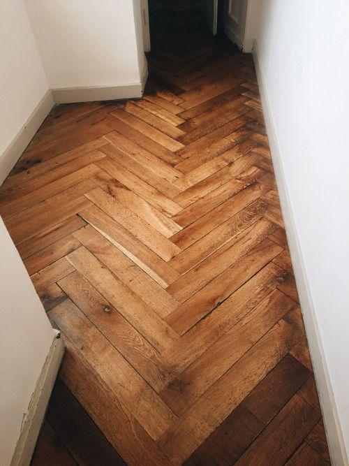 herringbone wood floors | hallway French country Parisian | Girlfriend is Better