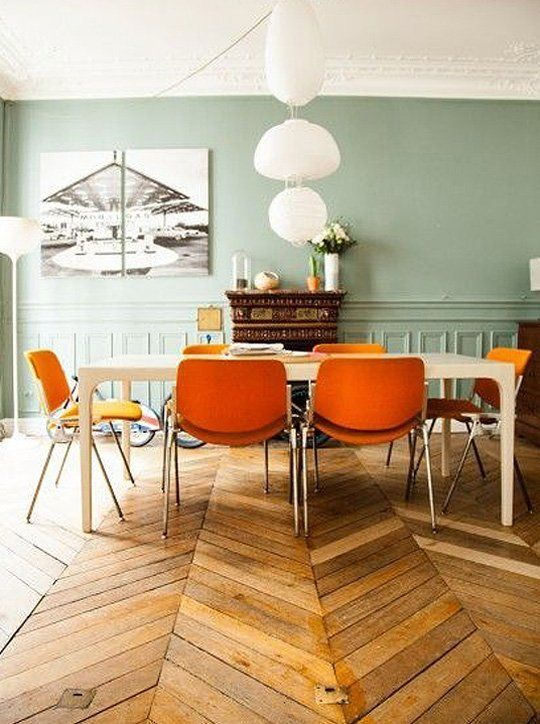 herringbone wood floors | dining room orange French country wall paneling | Girlfriend is Better