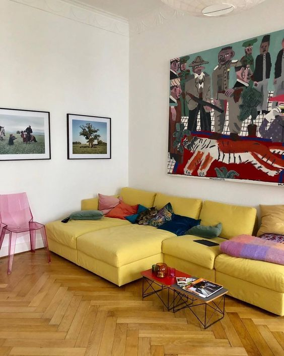 herringbone wood floors | yellow sofa living room Bohemian painting | Girlfriend is Better