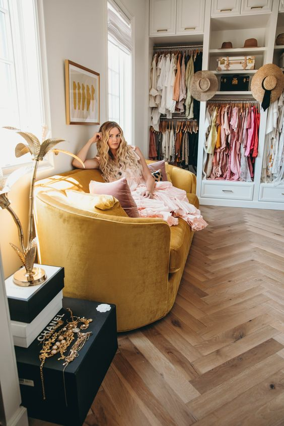 herringbone wood floors | yellow velvet sofa closet Bohemian | Girlfriend is Better