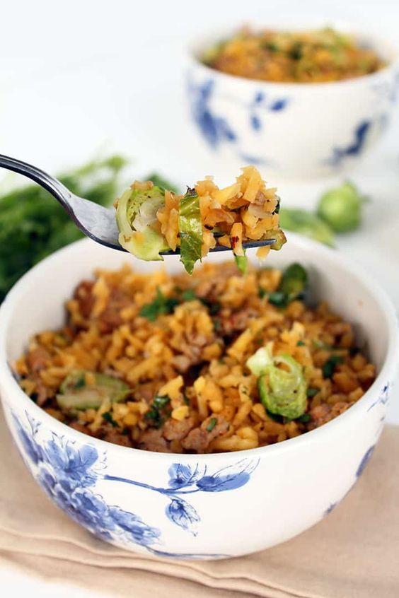 January's seasonal vegetables | Brussels Sprout Rutabaga Rice Chicken Sausage recipe vegan paleo | Girlfriend is Better