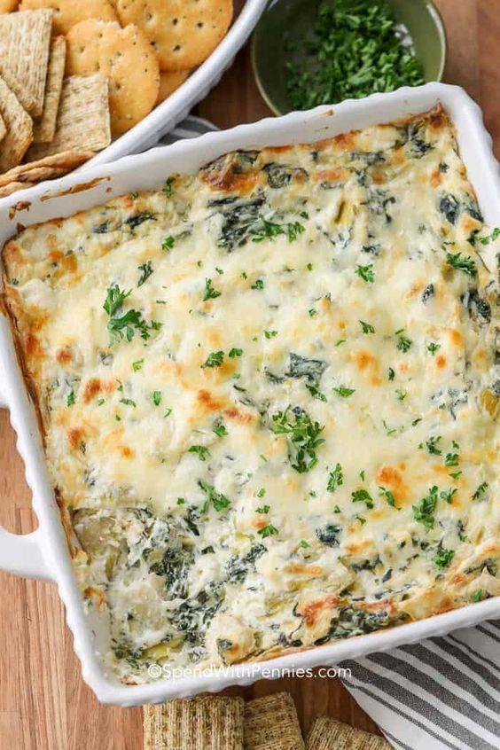 January's seasonal vegetables | Spinach Artichoke Dip recipe cream cheese gruyere mozzarella | Girlfriend is Better