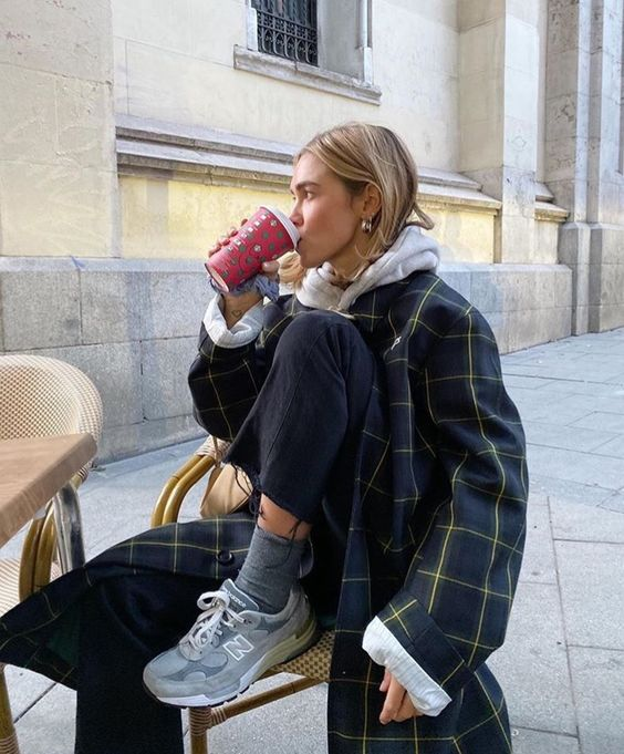 layering hoodies   plaid mid-length trench coat cropped wide leg pants tennis shoes   Girlfriend is Better
