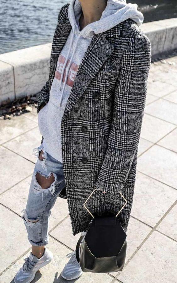 layering hoodies   distressed denim black plaid wool coat top handle purse   Girlfriend is Better