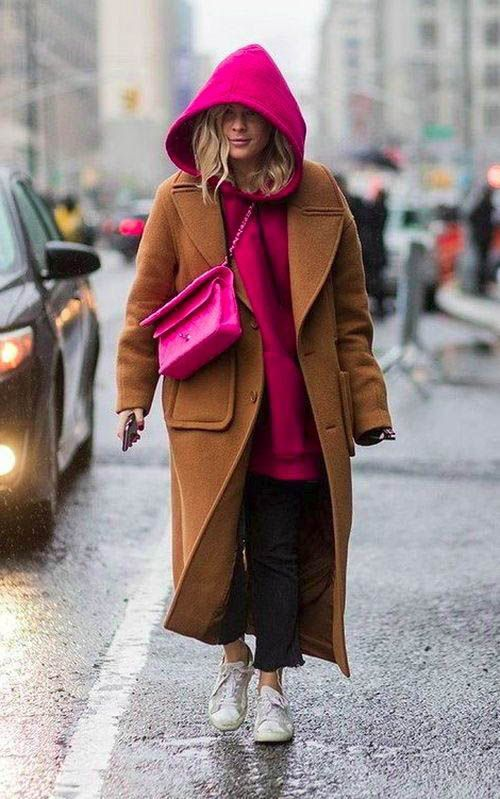 layering hoodies   hot pink camel full-length coat street style winter layers   Girlfriend is Better