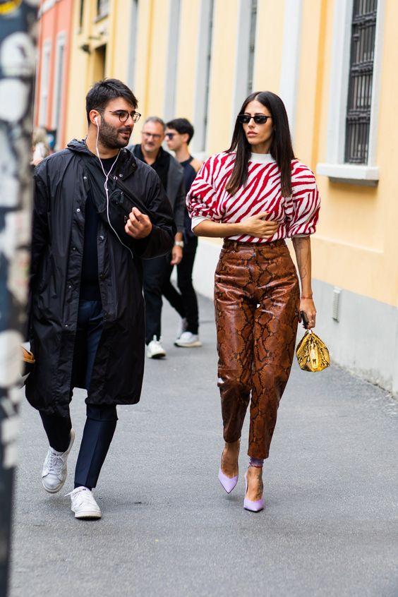 mock necks   red zebra sweater neutral snakeskin leather pants print mixing   Girlfriend is Better