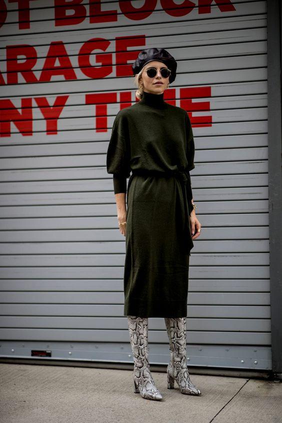 mock necks   black sweater dress winter accessories beret snakeskin boots   Girlfriend is Better