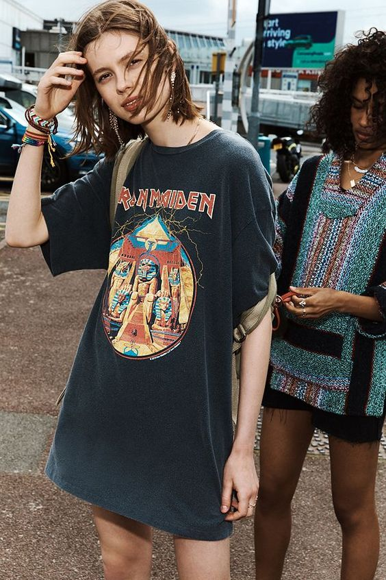 modern grunge | oversized graphic tee Iron Maiden Mexican poncho 90s fashion | Girlfriend is Better
