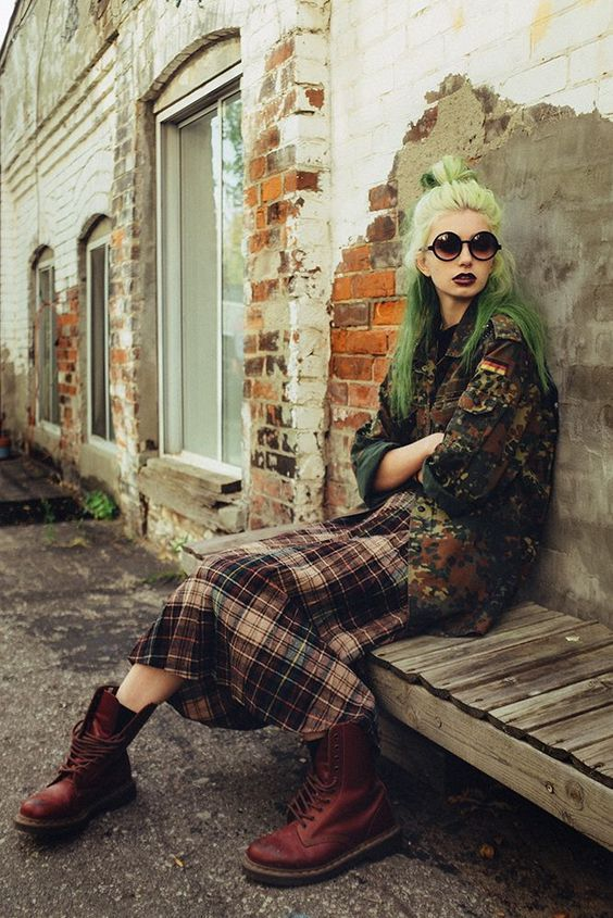 modern grunge | plaid mid-length skirt oversized camouflage jacket maroon work boots 90s fashion inspiration | Girlfriend is Better