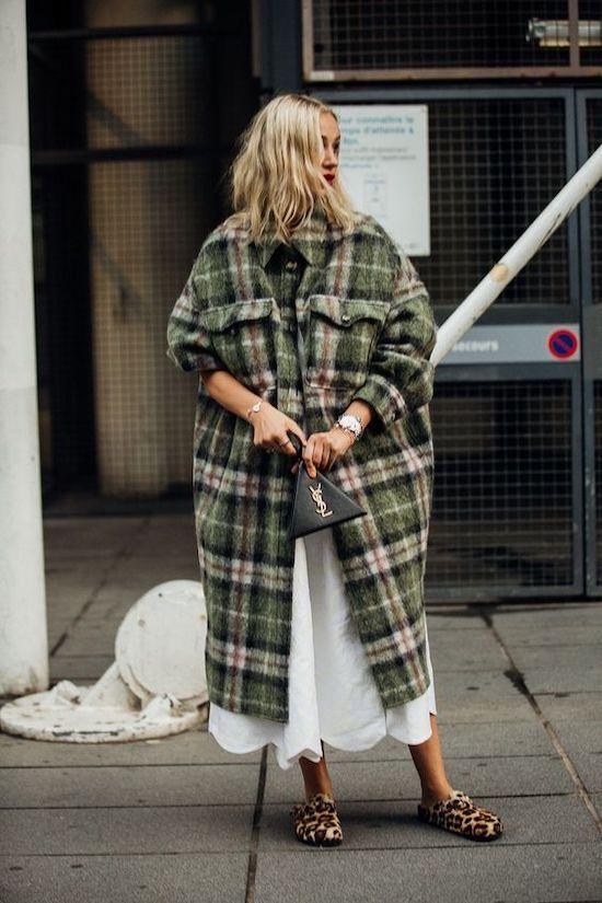 modern grunge | oversize wool flannel coat white dress cheetah Birkenstock mules 90s fashion | Girlfriend is Better