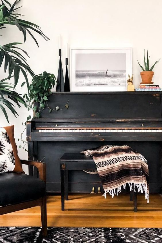 vintage black pianos | wood water element Feng Shui Mexican blanket | Girlfriend is Better