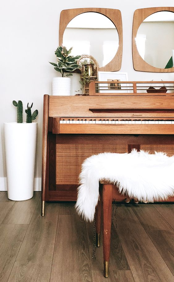 mid-century modern pianos | Baldwin Acrosonic Danish mirrors plants white fur pelt | Girlfriend is Better