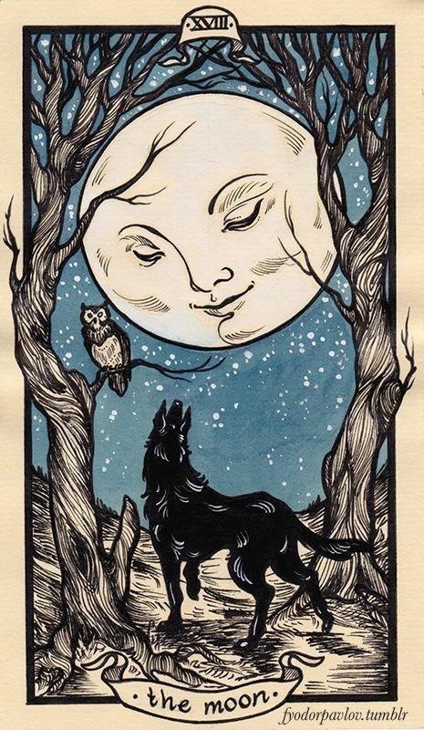 tarot card art   moon illustration   Girlfriend is Better