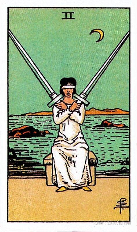 tarot card art nouveau   two swords medieval illustration   Girlfriend is Better