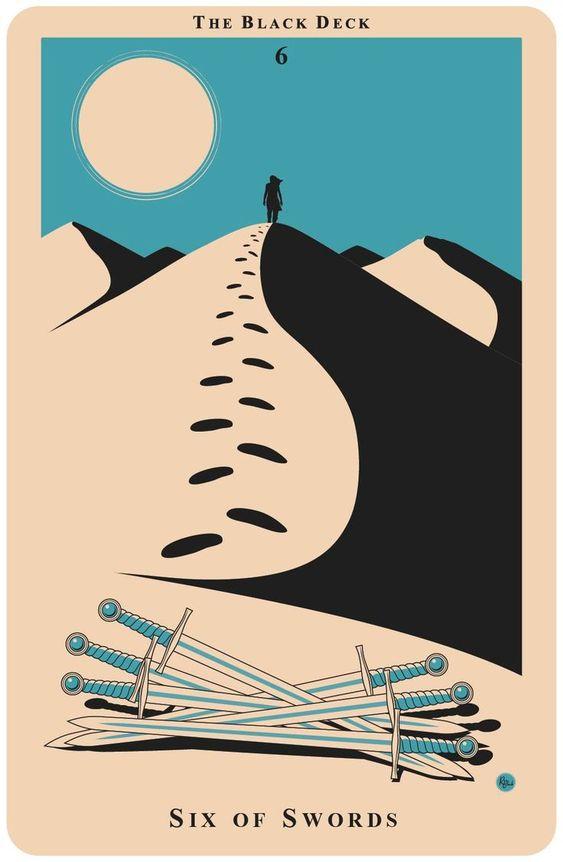 tarot card art   six swords poster illustration   Girlfriend is Better