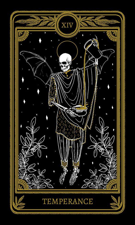 tarot card art   temperance gold skeleton gothic   Girlfriend is Better