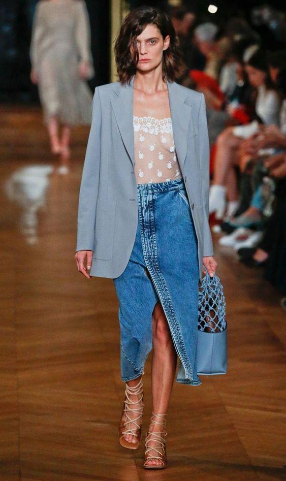 denim skirts   mid-length work wear oversized blazer runway   Girlfriend is Better