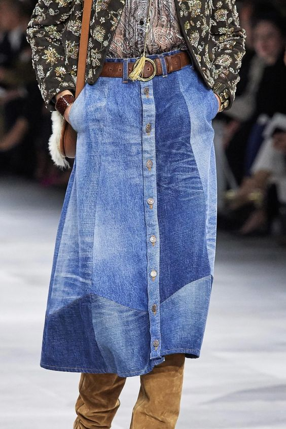 denim skirts | patchwork button from mid-length neutrals runway Celine | Girlfriend is Better