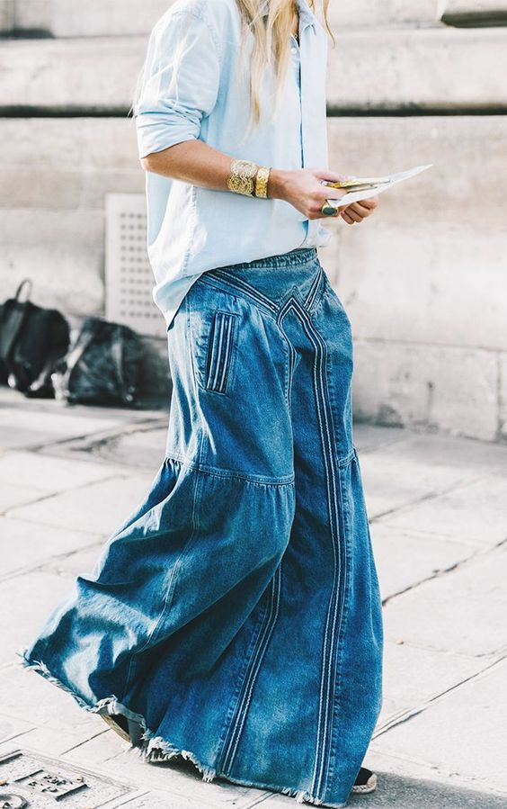 denim skirts | maxi jean tennis shoes chambray blouse business casual | Girlfriend is Better