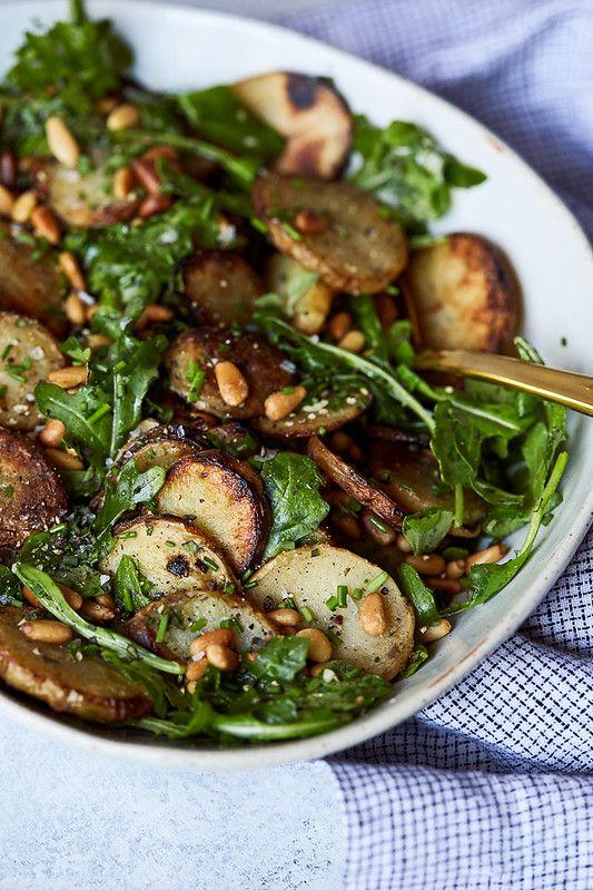 February's seasonal vegetables | grilled potato arugula salad recipe vegetarian vegan | Girlfriend is Better