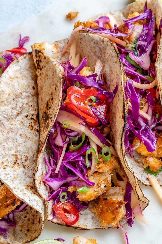 February's seasonal vegetables | halibut fish tacos lime mango cabbage slaw paleo | Girlfriend is Better