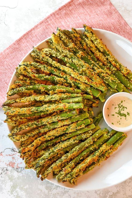 February's seasonal vegetables | Parmesan crusted asparagus spears vegetarian recipes | Girlfriend is Better