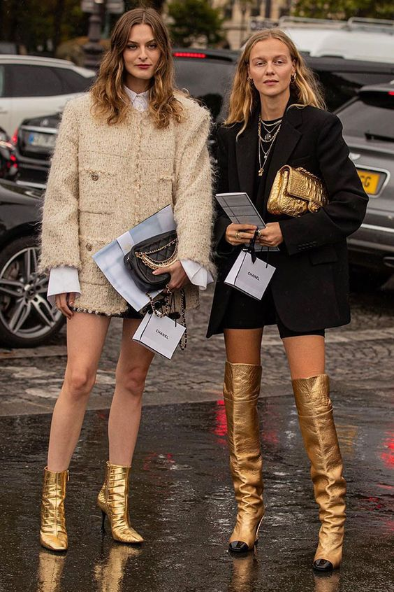gold boots   street style oversized blazer ankle over knee   Girlfriend is Better