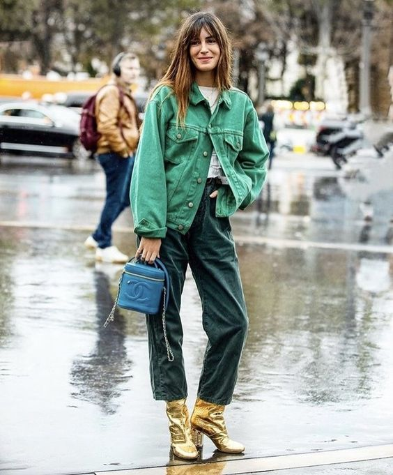 gold boots   green barrel jeans denim jacket monochromatic spring fashion   Girlfriend is Better