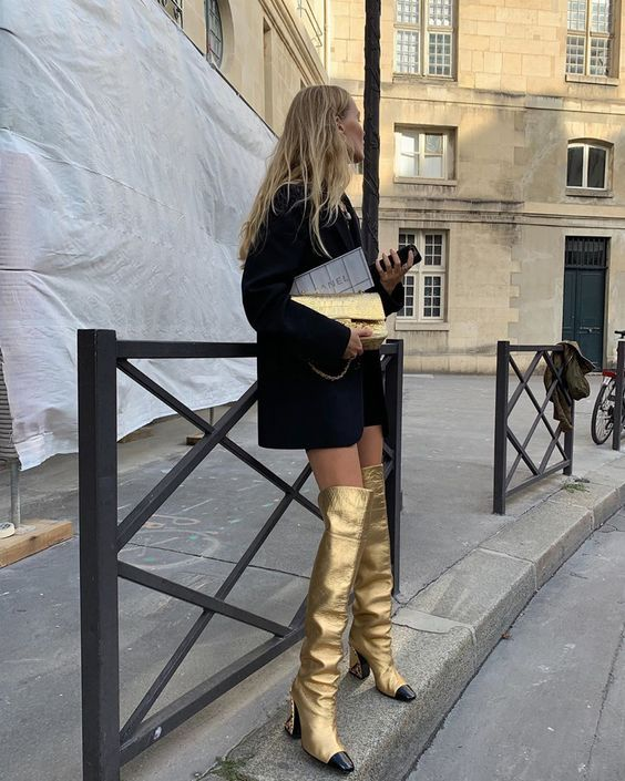 gold boots   over knee black double-breasted blazer oversized clutch   Girlfriend is Better