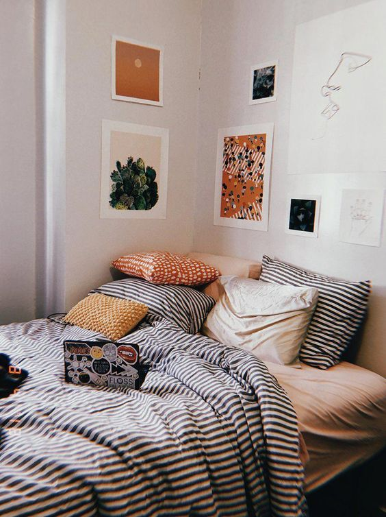 hygge hostess   striped linen bedding  guest bedroom gallery wall art   Girlfriend is Better