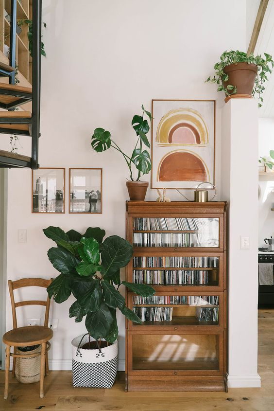 hygge hostess   vintage cd collection media cabinet entertaining art photography fiddle leaf fig   Girlfriend is Better