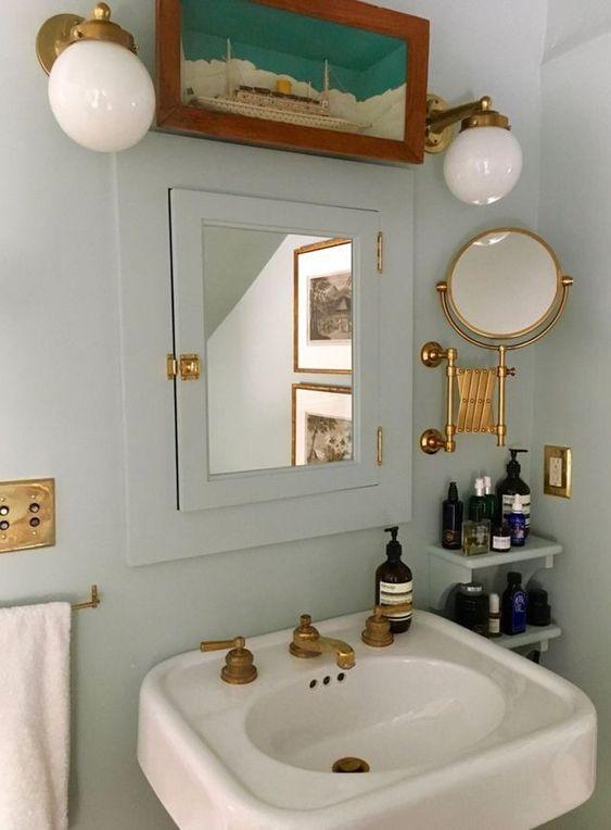 displaying art | landscape painting vintage masculine bathroom powder room | Girlfriend is Better