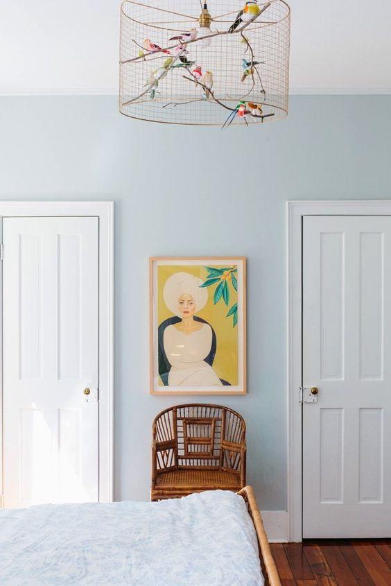 displaying art | bedroom horseshoe chair rattan Southern Bohemian | Girlfriend is Better