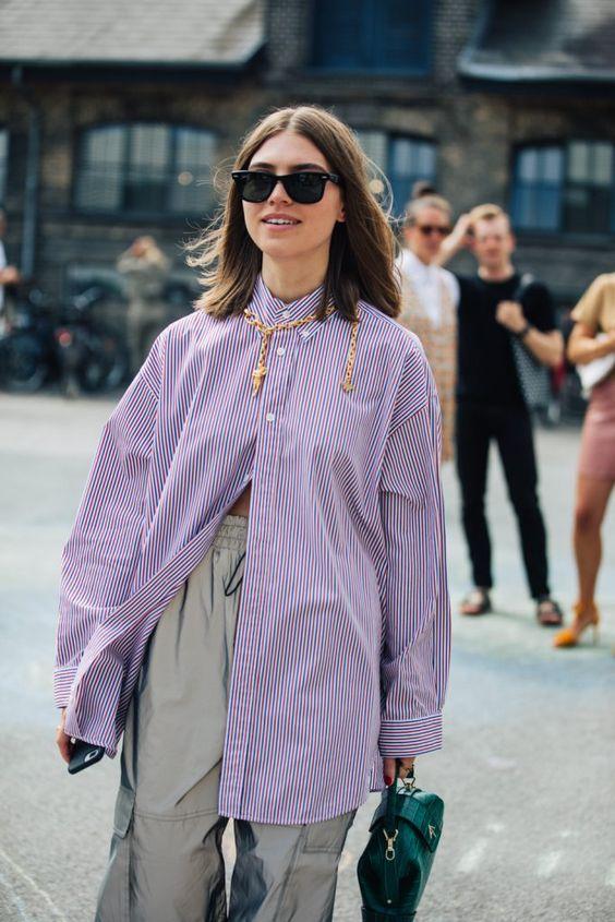 dropped shoulder seams | purple oversized button up blouse work wear | Girlfriend is Better