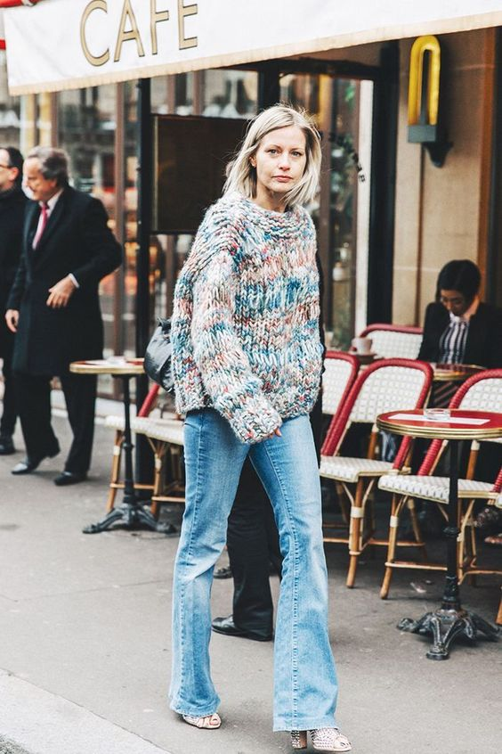 dropped shoulder sleeves   oversized knit sweater flare jeans French girl cool   Girlfriend is Better