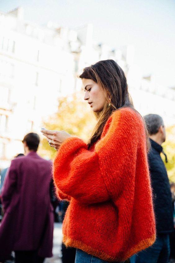 dropped shoulder seams   bright orange oversized sweater   Girlfriend is Better