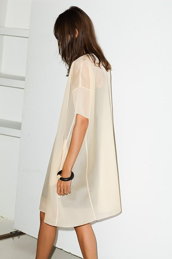 dropped shoulder seams   opaque sheer shift dress layering   Girlfriend is Better