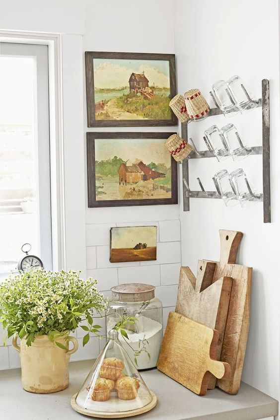 kitchen utility hooks | landscape paintings hanging rack cups glasses cutting boards | Girlfriend is Better