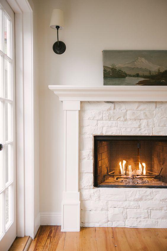 landscape paintings | white fireplace Feng Shui minimalism | Girlfriend is Better