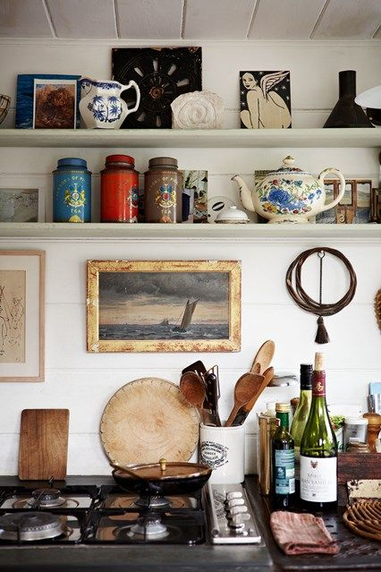 landscape paintings | open shelving vintage art rustic kitchen | Girlfriend is Better