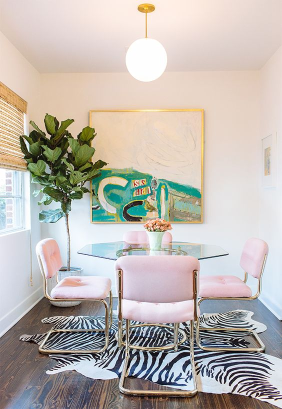 landscape paintings | abstract art dining room jungle decor zebra rug Breuer style chairs | Girlfriend is Better