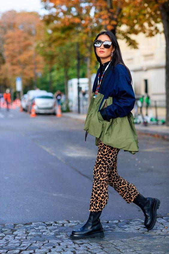 leopard print pants   black combat boots windbreaker   Girlfriend is Better