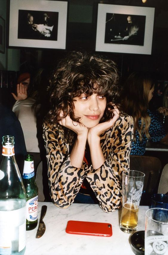 leopard print   French girl cool blouse curly bob hairdo   Girlfriend is Better