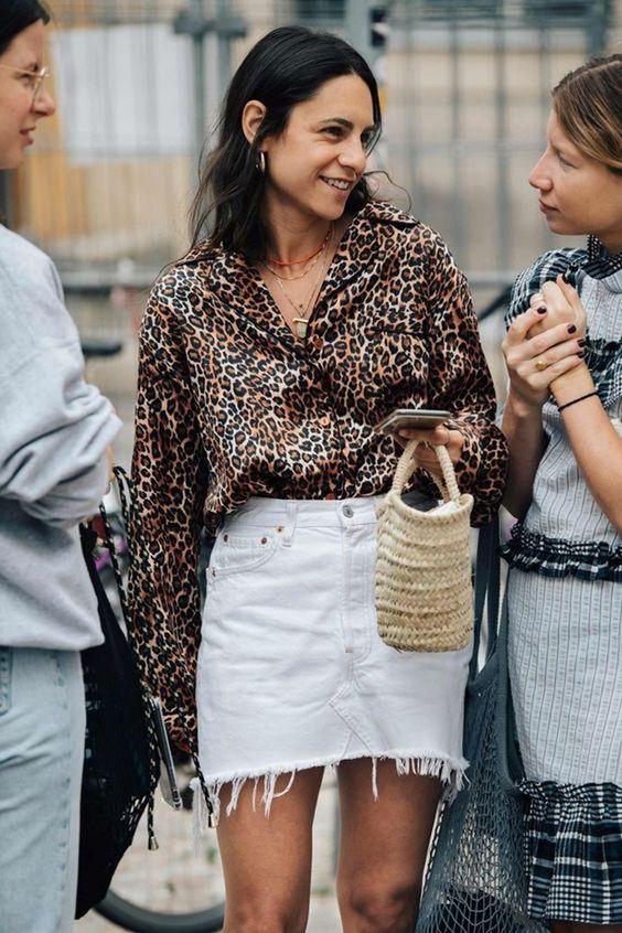 leopard print   silk blouse white denim skirt straw top handle purse   Girlfriend is Better