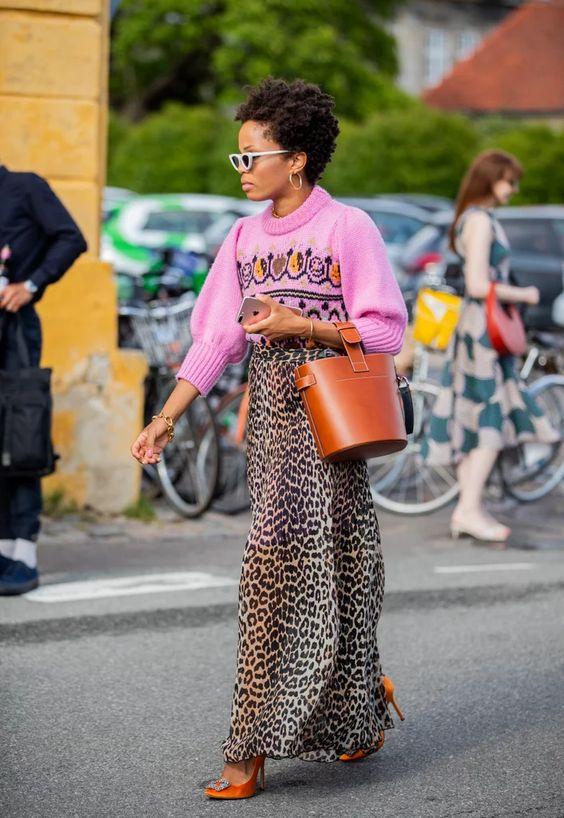 leopard print   maxi skirt hot pink oversized sweater leather bucket bag   Girlfriend is Better