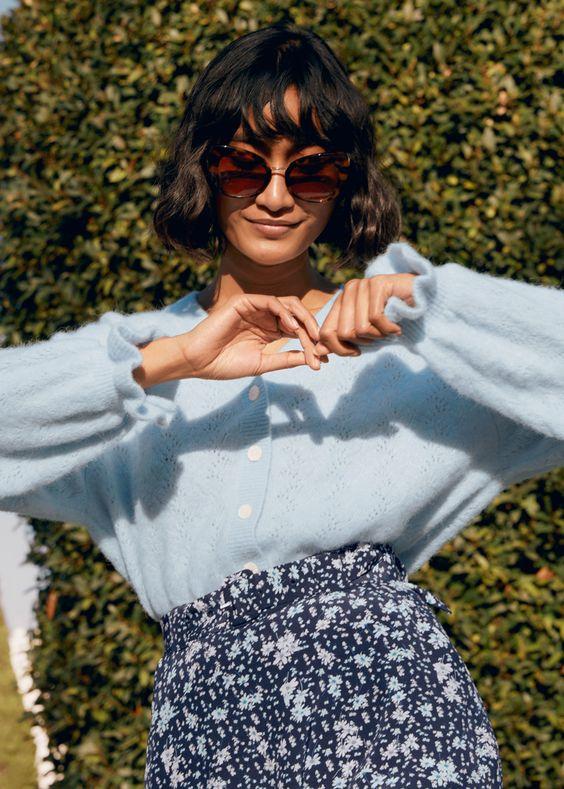 loungewear | lightweight wool sweater ruffled sleeves cardigan | Girlfriend is Better