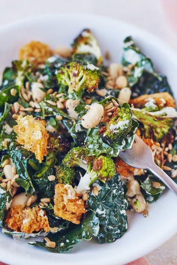 March's seasonal vegetables | Broccoli Caesar salad vegan recipe | Girlfriend is Better